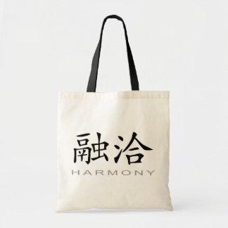 Símbolo chino para la armonía bolsas de mano