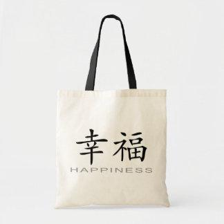 Símbolo chino para la felicidad bolsa lienzo