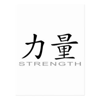 Símbolo chino para la fuerza tarjetas postales