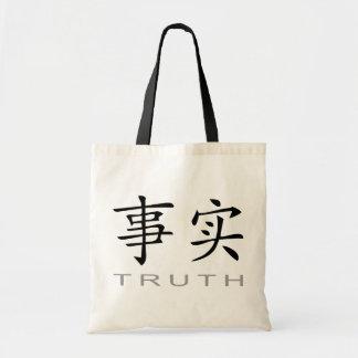 Símbolo chino para la verdad bolsa lienzo