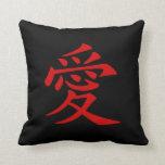 Símbolo chino rojo del amor cojines