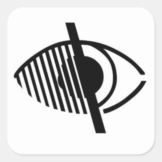 Símbolo ciego del acceso pegatina cuadrada