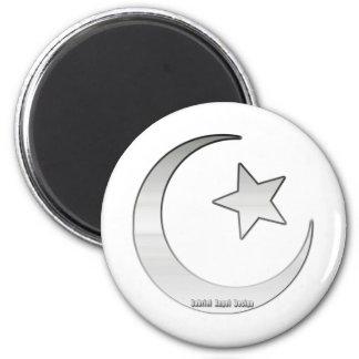Símbolo coloreado plata de la estrella y del creci imán para frigorífico