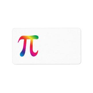 Símbolo colorido del pi etiquetas de dirección
