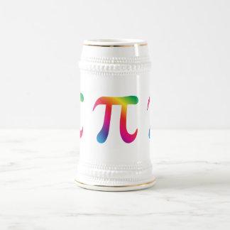 Símbolo colorido del pi jarra de cerveza