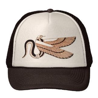 Símbolo con alas egipcio antiguo de la serpiente gorro