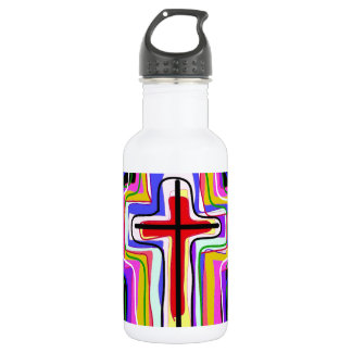 Símbolo cristiano contemporáneo botella de agua de acero inoxidable