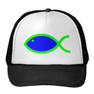 Símbolo cristiano de los pescados - azul con verde gorro