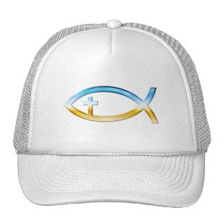 Símbolo cristiano de los pescados con crucifijo -  gorras de camionero