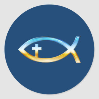 Símbolo cristiano de los pescados con crucifijo - etiquetas redondas