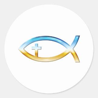 Símbolo cristiano de los pescados con crucifijo - pegatina redonda