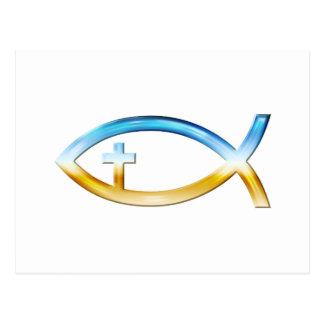Símbolo cristiano de los pescados con crucifijo - postal