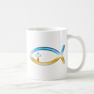 Símbolo cristiano de los pescados con crucifijo -  taza básica blanca