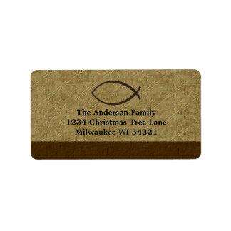 Símbolo cristiano de los pescados de Ichthys Etiqueta De Dirección