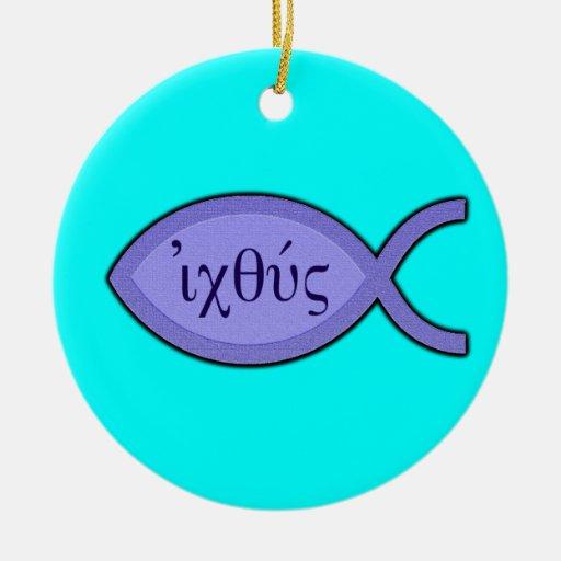 Símbolo cristiano de los pescados de IXOYE - Adorno Navideño Redondo De Cerámica