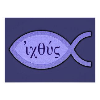 Símbolo cristiano de los pescados de IXOYE - Invitación Personalizada