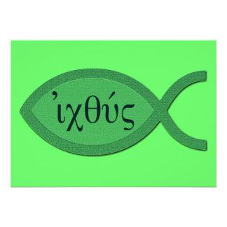 Símbolo cristiano de los pescados de IXOYE - Invitacion Personal