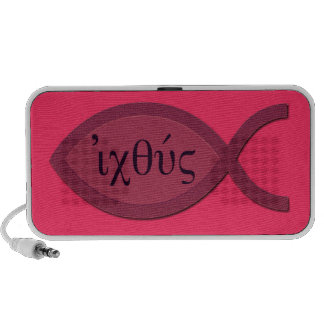 Símbolo cristiano de los pescados de IXOYE - perga Laptop Altavoz