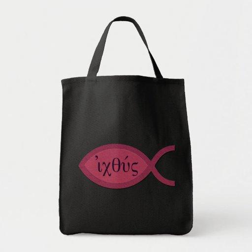 Símbolo cristiano de los pescados de IXOYE - perga Bolsa Tela Para La Compra