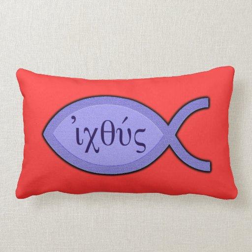 Símbolo cristiano de los pescados de IXOYE - perga Cojin