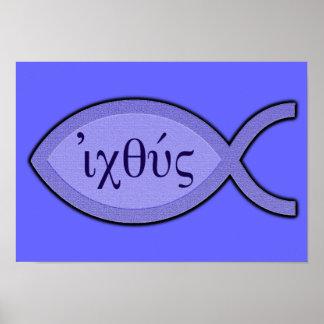 Símbolo cristiano de los pescados de IXOYE - perga Posters