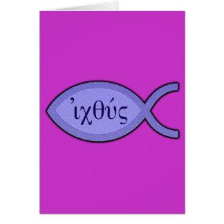 Símbolo cristiano de los pescados de IXOYE - perga Felicitaciones