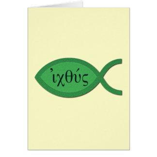 Símbolo cristiano de los pescados de IXOYE - perga Tarjetón