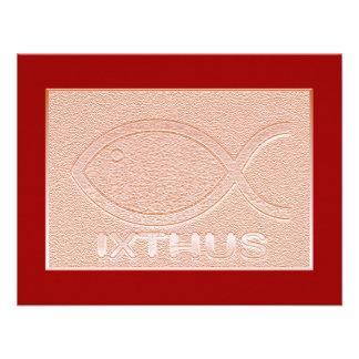 Símbolo cristiano de los pescados de IXTHUS - cobr Invitaciones Personalizada