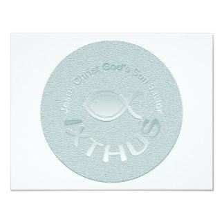 """Símbolo cristiano de los pescados de IXTHUS - Invitación 4.25"""" X 5.5"""""""