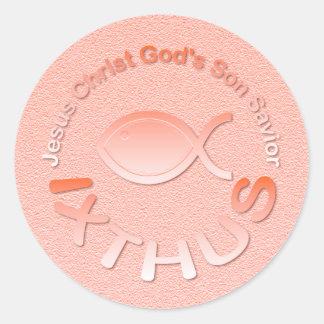 Símbolo cristiano de los pescados de IXTHUS - Pegatina Redonda