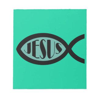 Símbolo cristiano de los pescados de JESÚS Bloc De Papel