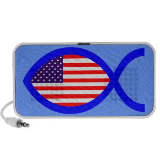 Símbolo cristiano de los pescados de la bandera mini altavoz