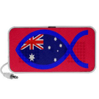 Símbolo cristiano de los pescados de la bandera PC altavoces