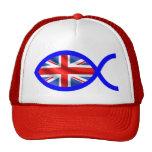 Símbolo cristiano de los pescados de la bandera gorras de camionero