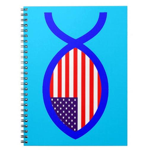 Símbolo cristiano de los pescados de la bandera libreta espiral