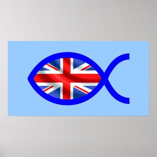 Símbolo cristiano de los pescados de la bandera posters