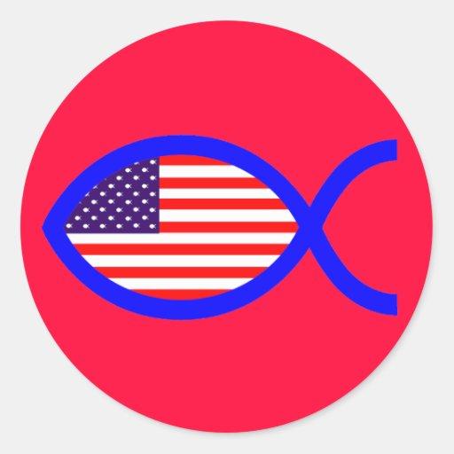 Símbolo cristiano de los pescados de la bandera pegatina redonda