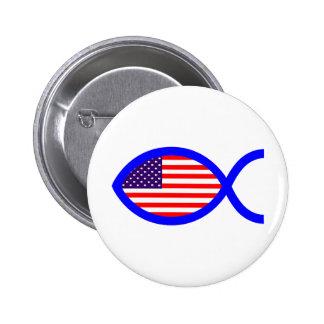Símbolo cristiano de los pescados de la bandera chapa redonda 5 cm