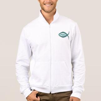Símbolo cristiano de los pescados del salvador de chaquetas imprimidas