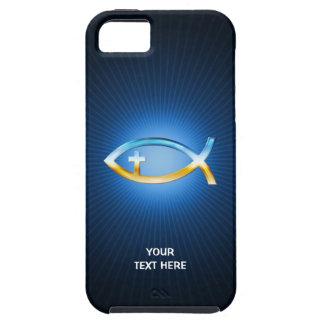 Símbolo cristiano de los pescados en fondo azul iPhone 5 Case-Mate coberturas
