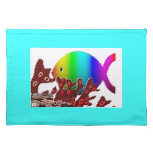 Símbolo cristiano de los pescados - océano del arc manteles individuales