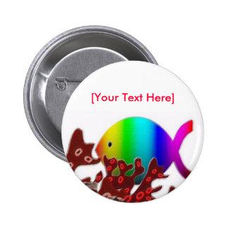 Símbolo cristiano de los pescados - océano del pin redondo de 2 pulgadas