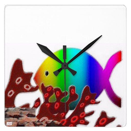 Símbolo cristiano de los pescados - océano del reloj cuadrado