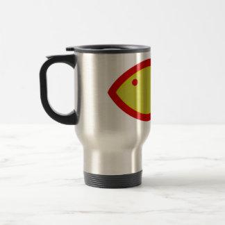 Símbolo cristiano de los pescados - oro con rojo taza de viaje de acero inoxidable