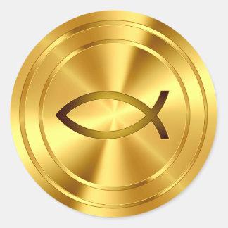 Símbolo cristiano de los pescados - oro pegatinas redondas