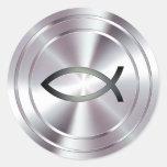 Símbolo cristiano de los pescados - plata pegatinas redondas