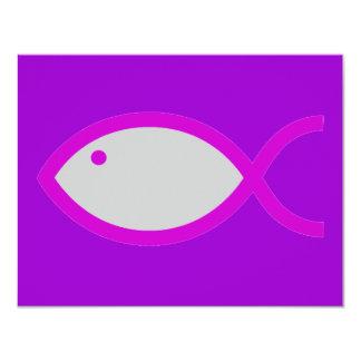 """¡Símbolo cristiano de los pescados - RUIDOSAMENTE! Invitación 4.25"""" X 5.5"""""""