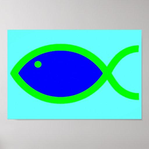 ¡Símbolo cristiano de los pescados - RUIDOSAMENTE! Póster