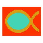 Símbolo cristiano de los pescados tarjetas postales