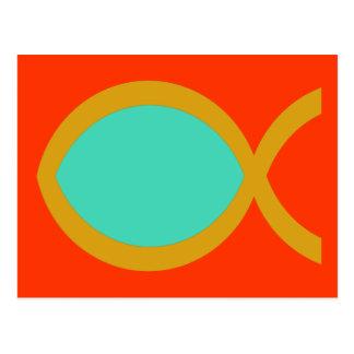 Símbolo cristiano de los pescados tarjeta postal